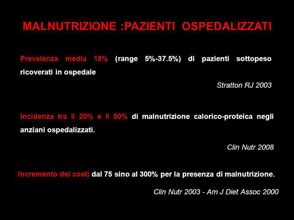 Prevalenza media 18% (range 5%-37.5%) di pazienti sottopeso ricoverati in ospedale Stratton RJ 2003 Incidenza tra il 20% e il 50% di malnutrizione cal