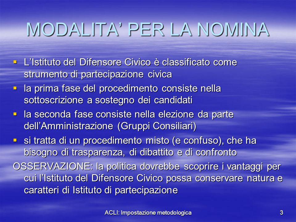 ACLI: Impostazione metodologica3 MODALITA' PER LA NOMINA  L'Istituto del Difensore Civico è classificato come strumento di partecipazione civica  la