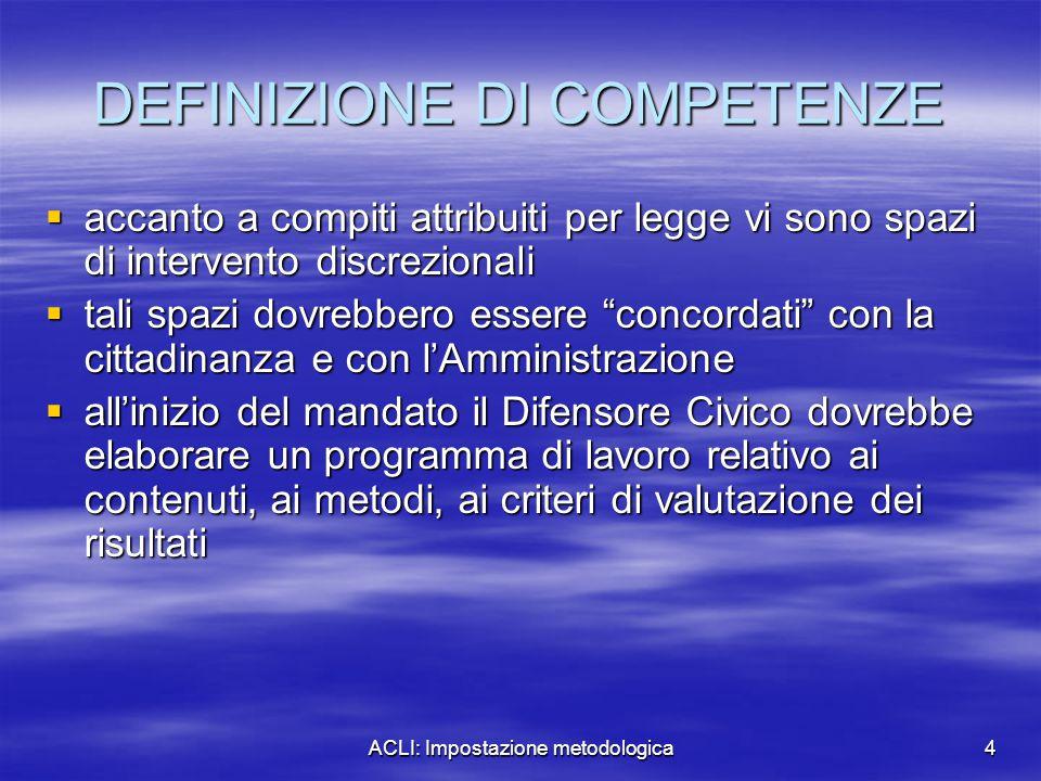 ACLI: Impostazione metodologica4 DEFINIZIONE DI COMPETENZE  accanto a compiti attribuiti per legge vi sono spazi di intervento discrezionali  tali s