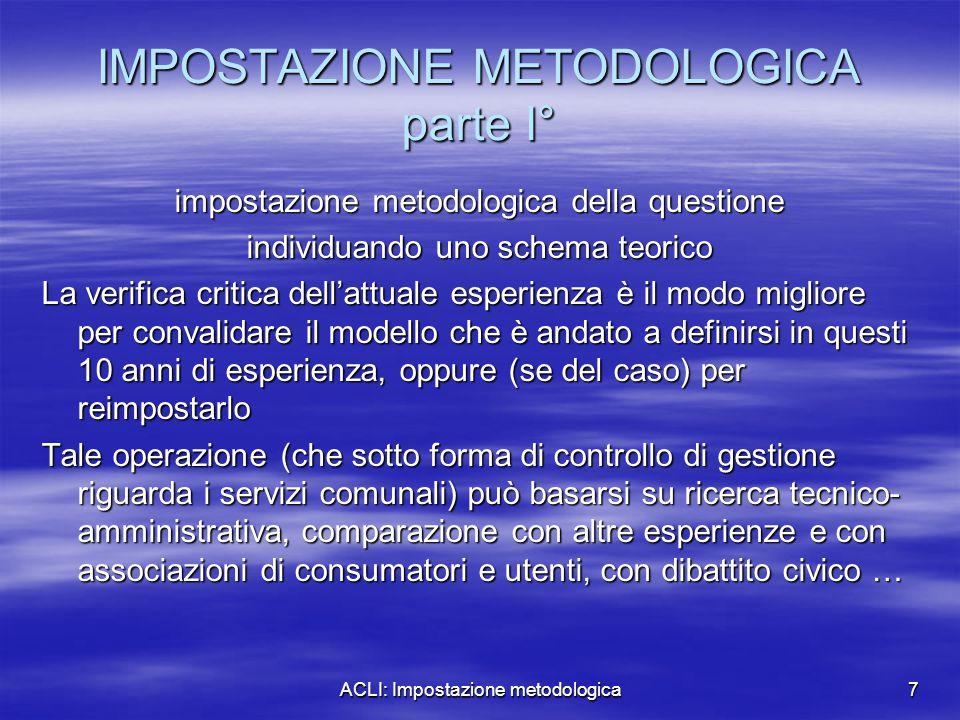 ACLI: Impostazione metodologica7 IMPOSTAZIONE METODOLOGICA parte I° impostazione metodologica della questione individuando uno schema teorico La verif