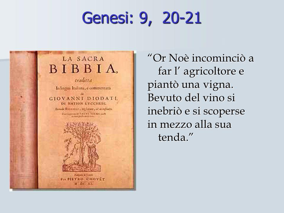 """Genesi: 9, 20-21 """"Or Noè incominciò a far l' agricoltore e piantò una vigna. Bevuto del vino si inebriò e si scoperse in mezzo alla sua tenda."""""""