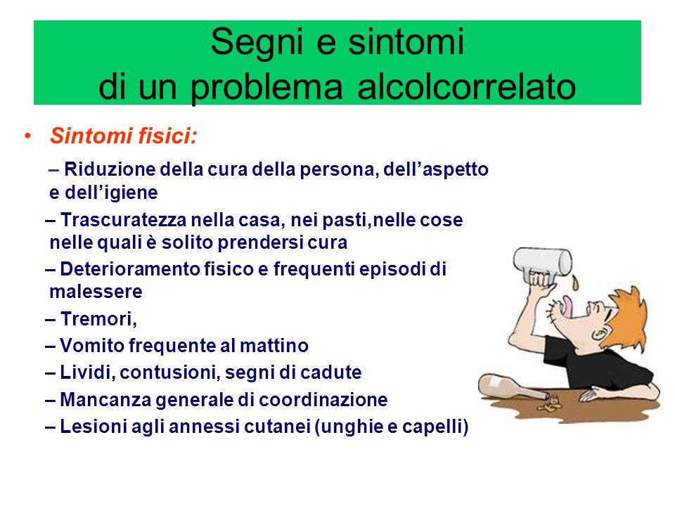 Segni e sintomi di un problema alcolcorrelato Sintomi fisici: – Riduzione della cura della persona, dell'aspetto e dell'igiene – Trascuratezza nella c