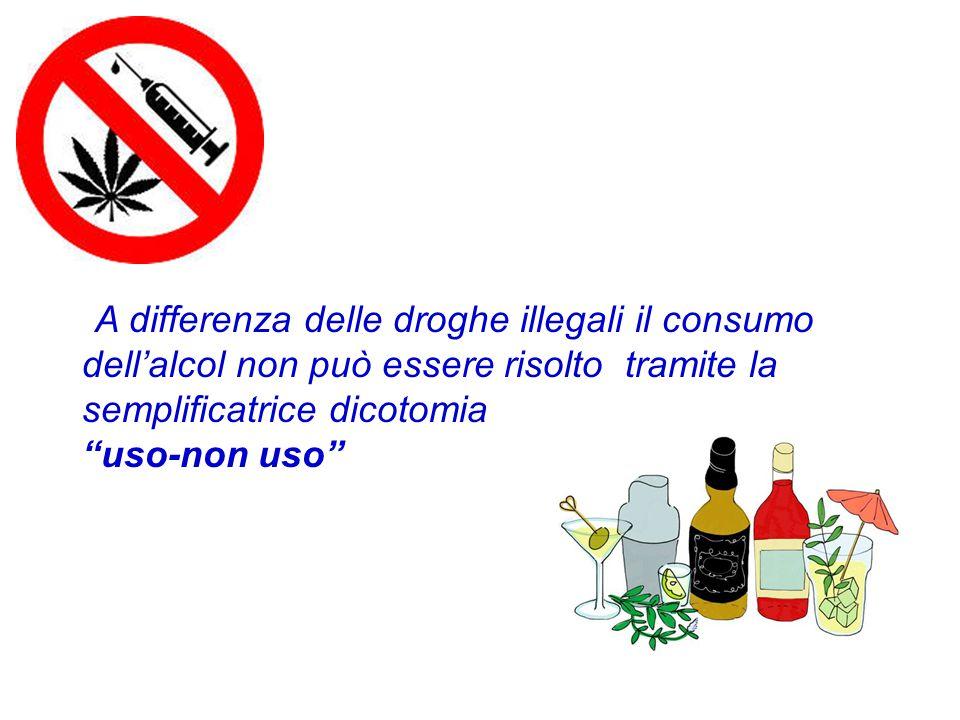 """A differenza delle droghe illegali il consumo dell'alcol non può essere risolto tramite la semplificatrice dicotomia """"uso-non uso"""""""