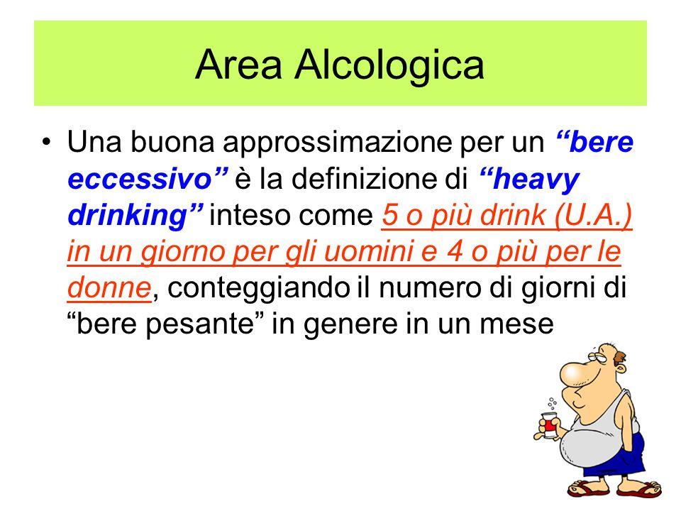 """Una buona approssimazione per un """"bere eccessivo"""" è la definizione di """"heavy drinking"""" inteso come 5 o più drink (U.A.) in un giorno per gli uomini e"""