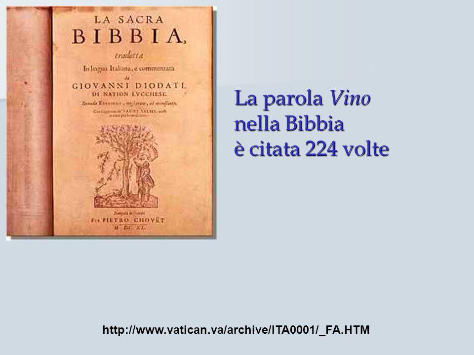 La parola Vino nella Bibbia è citata 224 volte http://www.vatican.va/archive/ITA0001/_FA.HTM