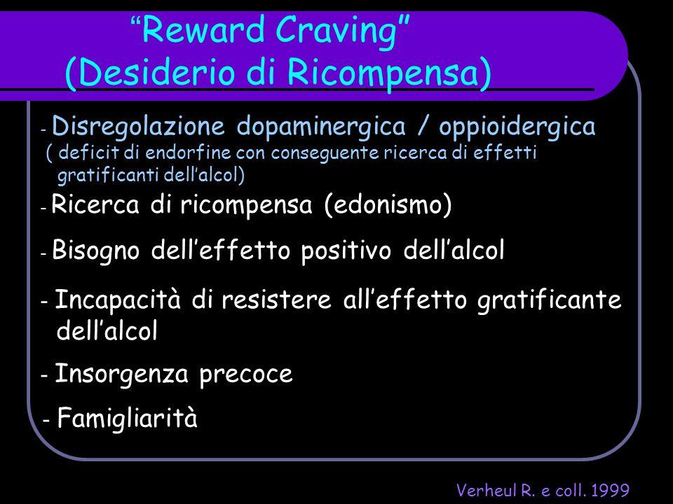 """"""" Reward Craving"""" (Desiderio di Ricompensa) - Disregolazione dopaminergica / oppioidergica ( deficit di endorfine con conseguente ricerca di effetti g"""