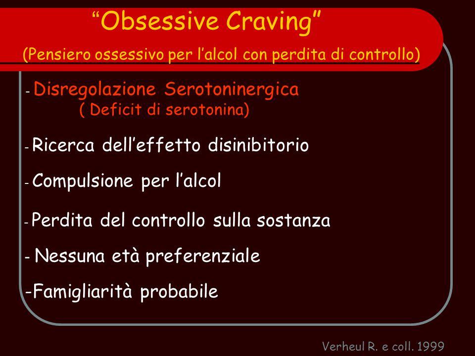 """Verheul R. e coll. 1999 """" Obsessive Craving"""" (Pensiero ossessivo per l'alcol con perdita di controllo) - Disregolazione Serotoninergica ( Deficit di s"""