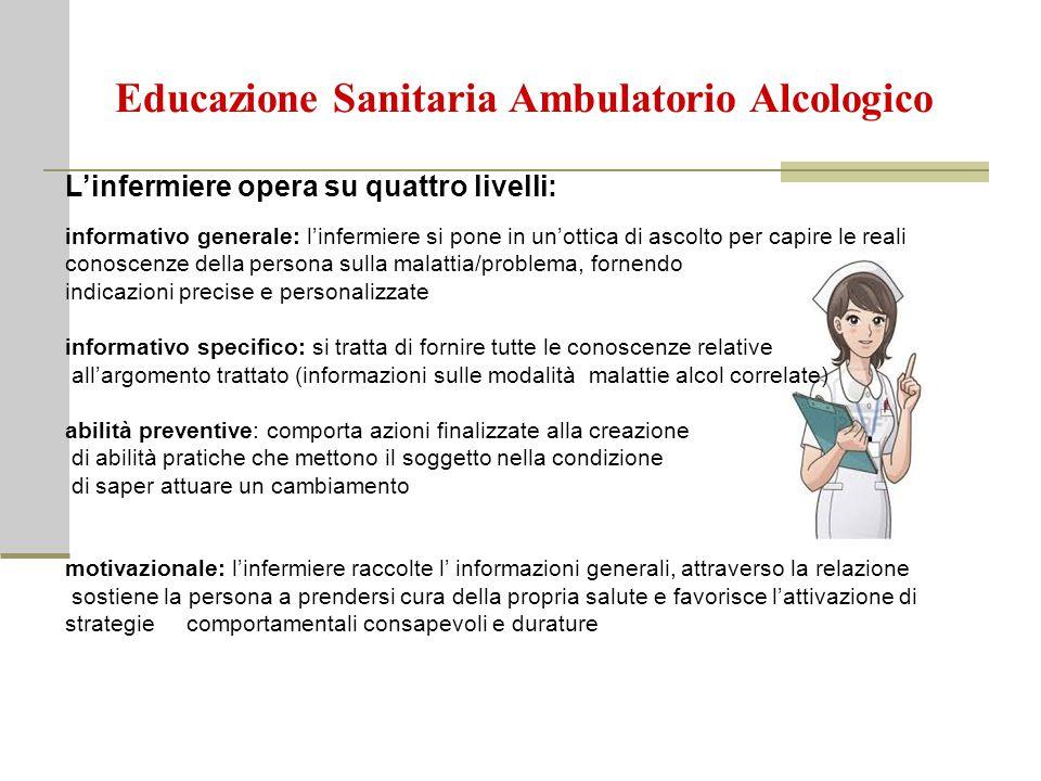 Educazione Sanitaria Ambulatorio Alcologico L'infermiere opera su quattro livelli: informativo generale: l'infermiere si pone in un'ottica di ascolto