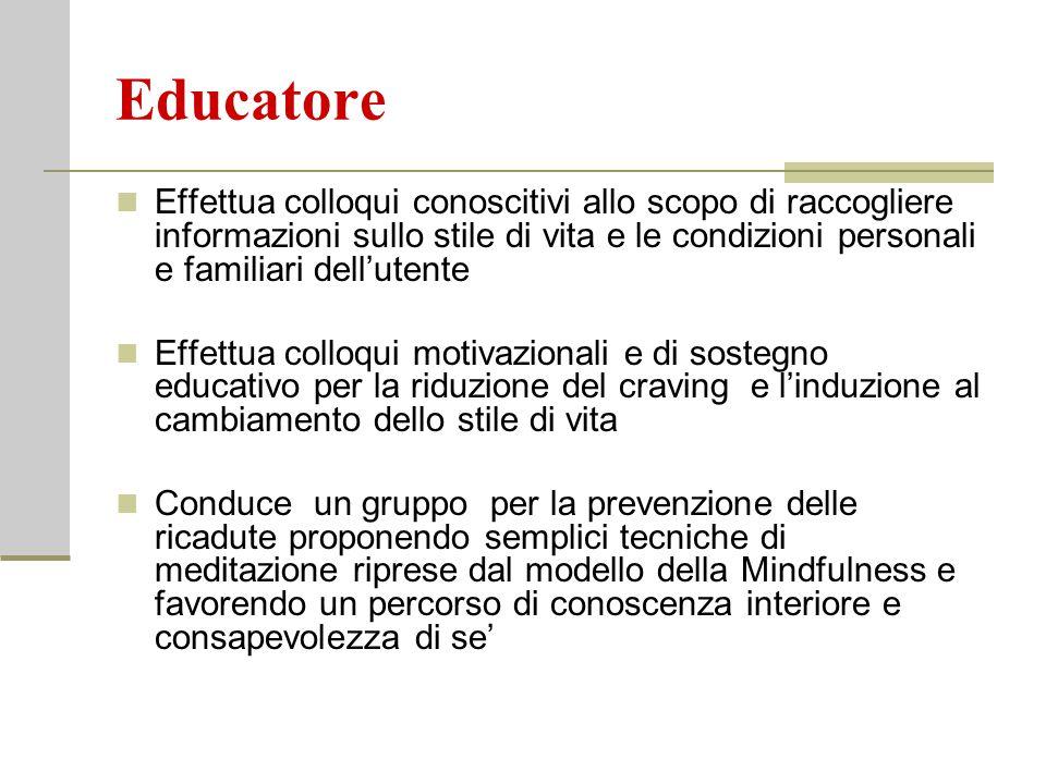 Educatore Effettua colloqui conoscitivi allo scopo di raccogliere informazioni sullo stile di vita e le condizioni personali e familiari dell'utente E