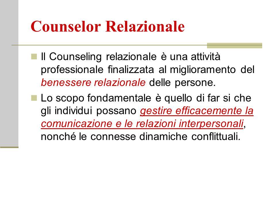 Counselor Relazionale Il Counseling relazionale è una attività professionale finalizzata al miglioramento del benessere relazionale delle persone. Lo