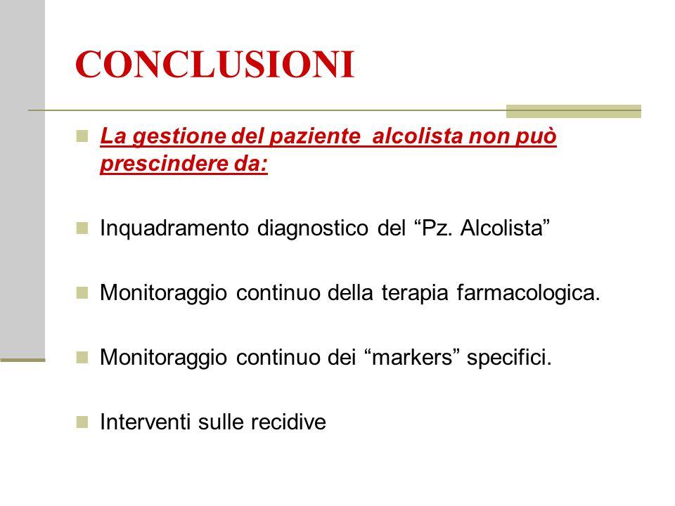 """CONCLUSIONI La gestione del paziente alcolista non può prescindere da: Inquadramento diagnostico del """"Pz. Alcolista"""" Monitoraggio continuo della terap"""