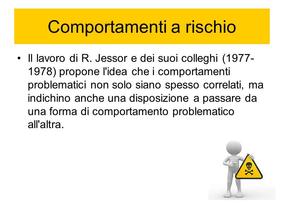Comportamenti a rischio Il lavoro di R. Jessor e dei suoi colleghi (1977- 1978) propone l'idea che i comportamenti problematici non solo siano spesso