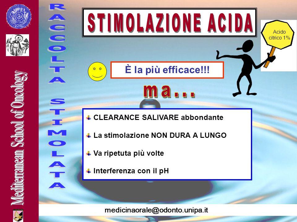 medicinaorale@odonto.unipa.it È la più efficace!!! CLEARANCE SALIVARE abbondante La stimolazione NON DURA A LUNGO Va ripetuta più volte Interferenza c