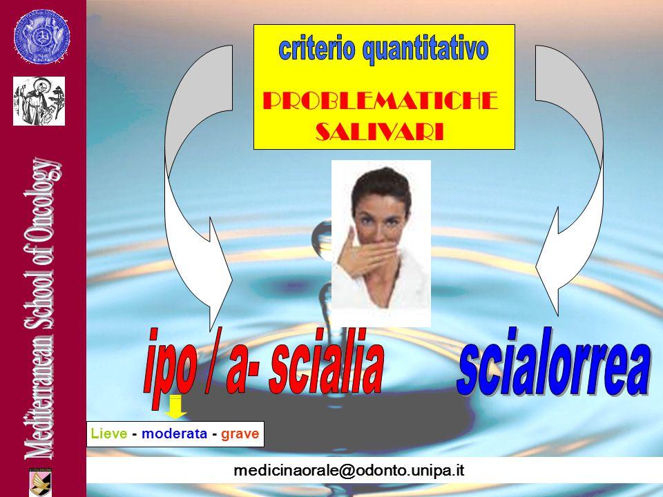 medicinaorale@odonto.unipa.it PROBLEMATICHE SALIVARI Lieve - moderata - grave