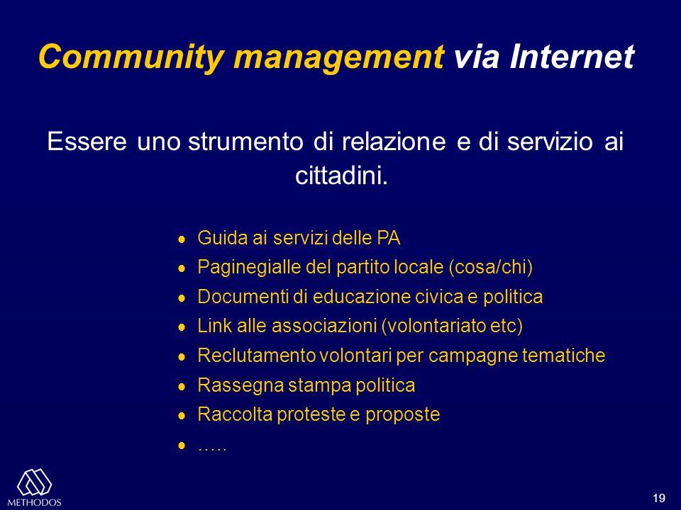 19 Community management via Internet Essere uno strumento di relazione e di servizio ai cittadini.  Guida ai servizi delle PA  Paginegialle del part