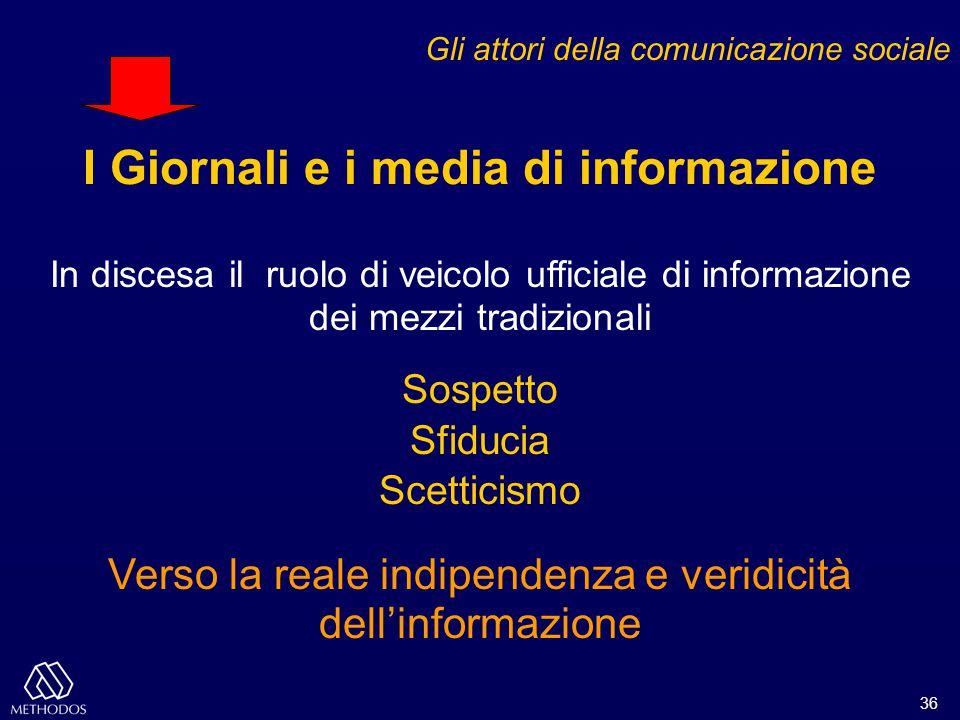 36 Gli attori della comunicazione sociale I Giornali e i media di informazione In discesa il ruolo di veicolo ufficiale di informazione dei mezzi trad