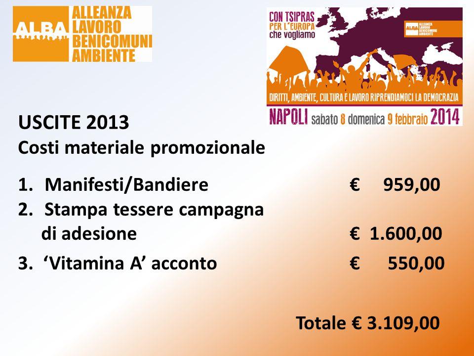 USCITE 2013 Costi materiale promozionale 1.Manifesti/Bandiere€ 959,00 2.Stampa tessere campagna di adesione€ 1.600,00 3. 'Vitamina A' acconto€ 550,00