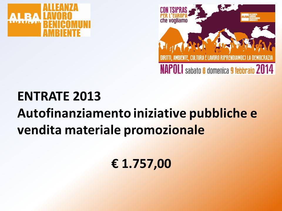 ENTRATE 2013 Autofinanziamento iniziative pubbliche e vendita materiale promozionale € 1.757,00