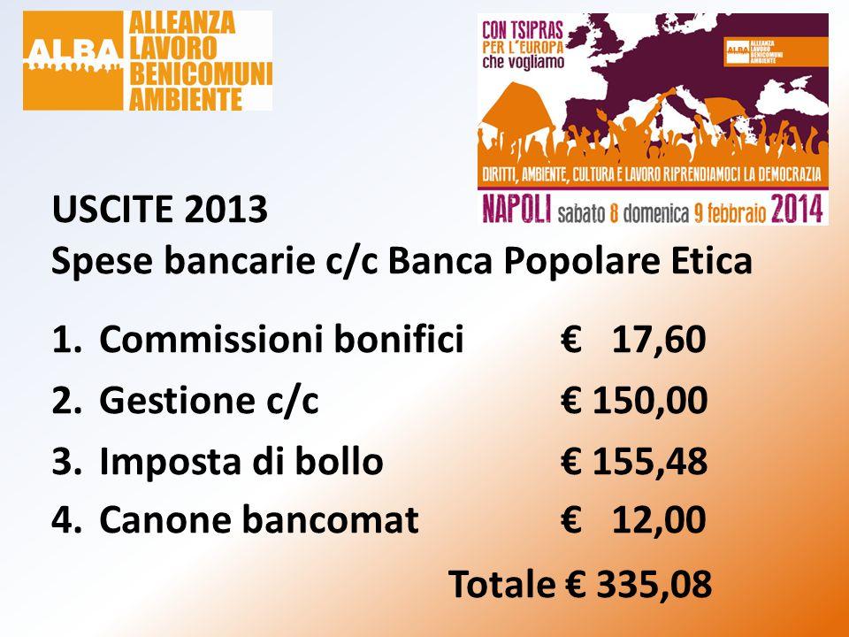 USCITE 2013 Spese bancarie c/c Banca Popolare Etica 1.Commissioni bonifici€ 17,60 2.Gestione c/c€ 150,00 3.Imposta di bollo€ 155,48 4.Canone bancomat€ 12,00 Totale € 335,08