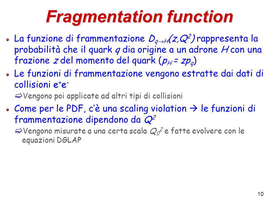 10 La funzione di frammentazione D q  H (z,Q 2 ) rappresenta la probabilità che il quark q dia origine a un adrone H con una frazione z del momento del quark (p H = zp q ) e + e - Le funzioni di frammentazione vengono estratte dai dati di collisioni e + e -  Vengono poi applicate ad altri tipi di collisioni Come per le PDF, c'è una scaling violation  le funzioni di frammentazione dipendono da Q 2  Vengono misurate a una certa scala Q 0 2 e fatte evolvere con le equazioni DGLAP Fragmentation function