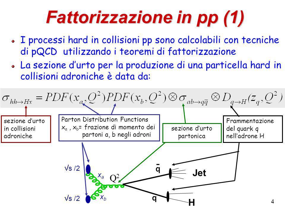 4 I processi hard in collisioni pp sono calcolabili con tecniche di pQCD utilizzando i teoremi di fattorizzazione La sezione d'urto per la produzione di una particella hard in collisioni adroniche è data da: Fattorizzazione in pp (1) sezione d'urto partonica Parton Distribution Functions x a, x b = frazione di momento dei partoni a, b negli adroni sezione d'urto in collisioni adroniche  s /2 q q H xaxa xbxb Q2Q2 Jet - Frammentazione del quark q nell'adrone H