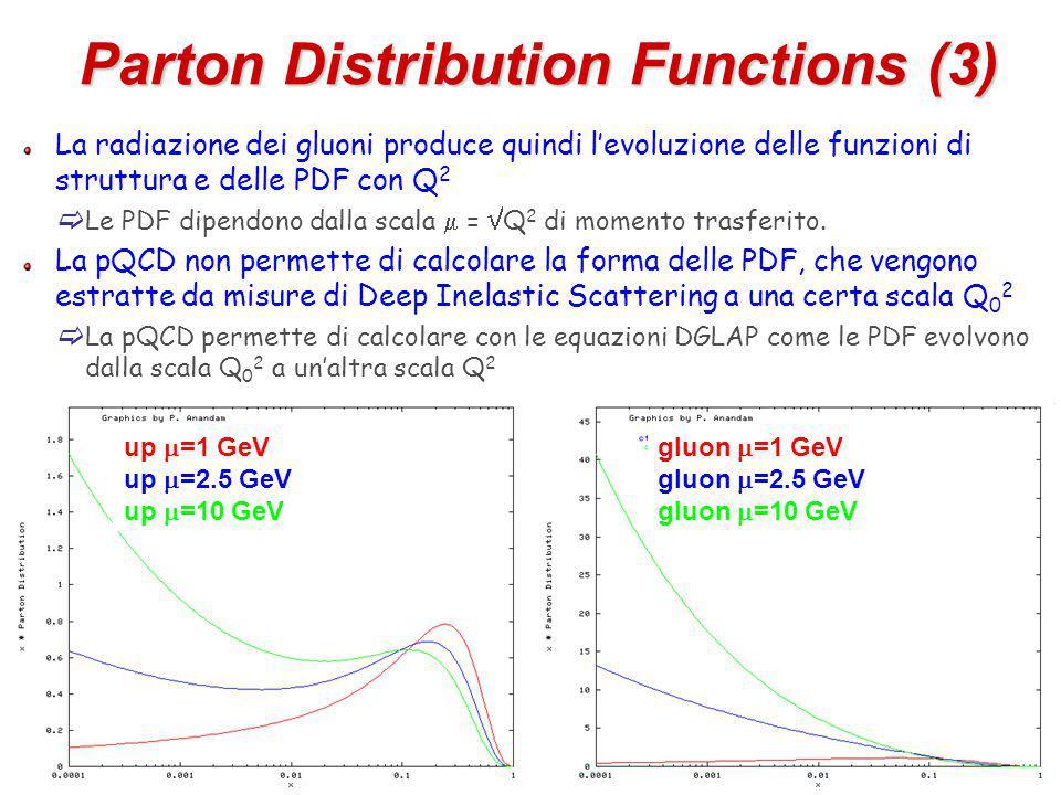 8 La radiazione dei gluoni produce quindi l'evoluzione delle funzioni di struttura e delle PDF con Q 2  Le PDF dipendono dalla scala  =  Q 2 di momento trasferito.