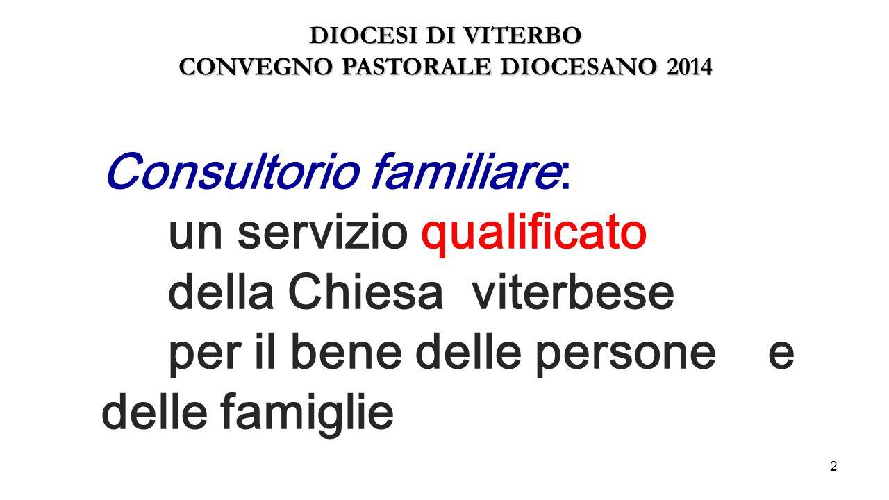 2 Consultorio familiare: un servizio qualificato della Chiesa viterbese per il bene delle persone e delle famiglie DIOCESI DI VITERBO CONVEGNO PASTORA