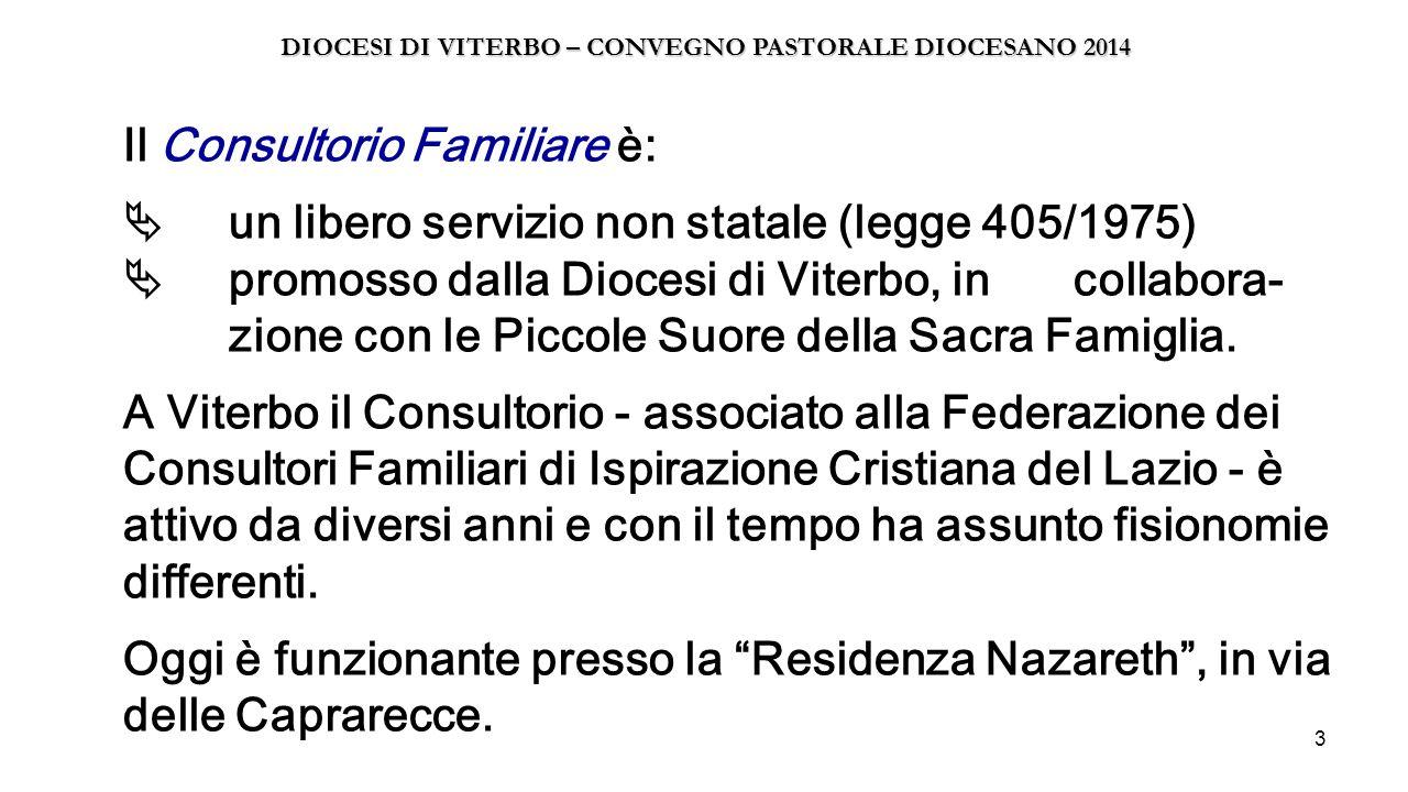 3 Il Consultorio Familiare è:  un libero servizio non statale (legge 405/1975)  promosso dalla Diocesi di Viterbo, in collabora- zione con le Piccol