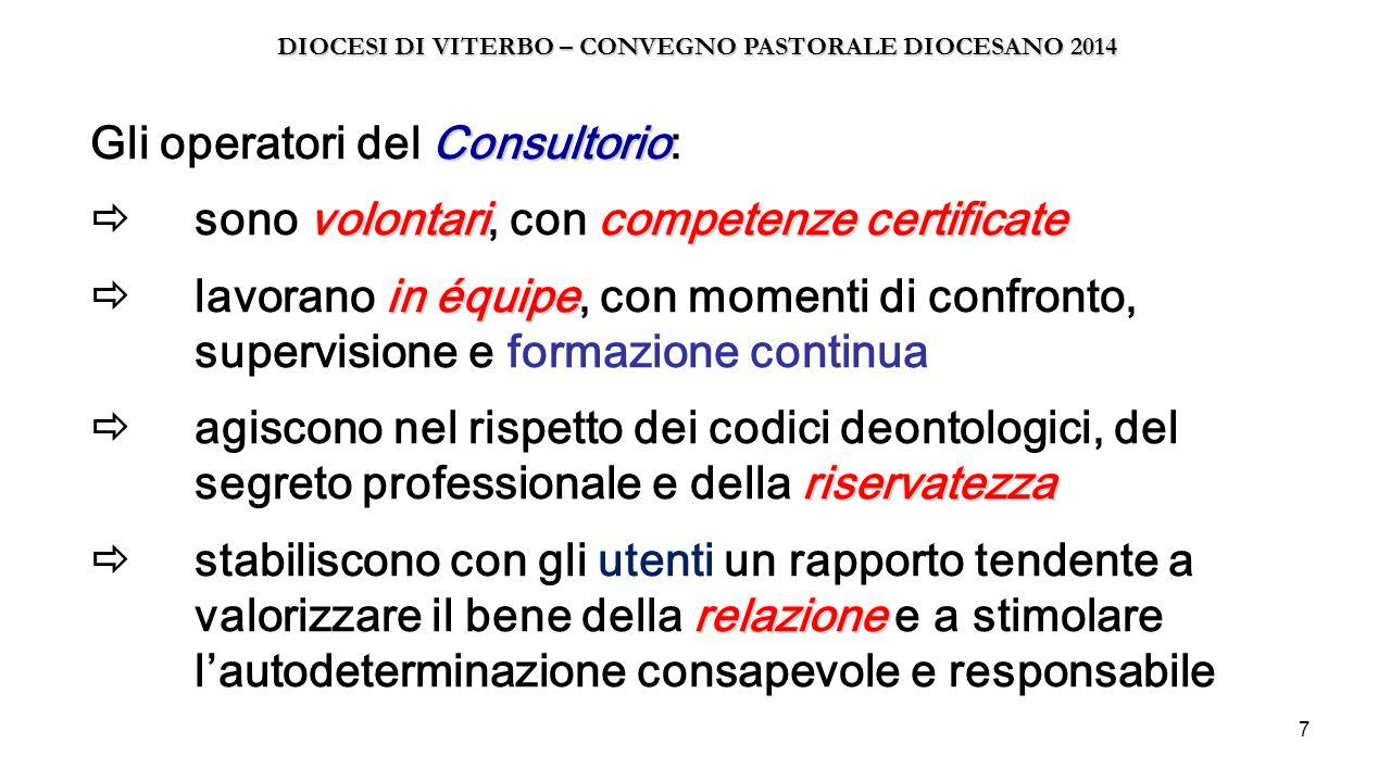 7 Consultorio volontaricompetenze certificate in équipe riservatezza relazione Gli operatori del Consultorio:  sono volontari, con competenze certifi