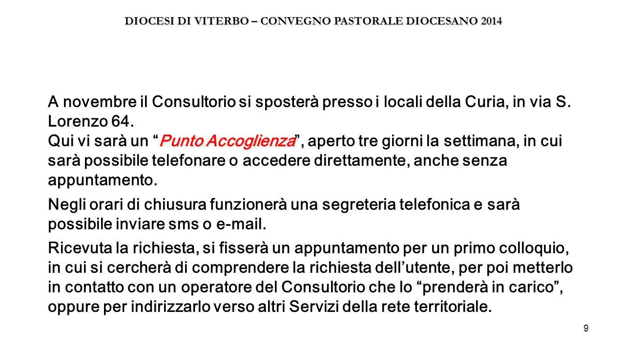"""9 Punto Accoglienza A novembre il Consultorio si sposterà presso i locali della Curia, in via S. Lorenzo 64. Qui vi sarà un """"Punto Accoglienza"""", apert"""