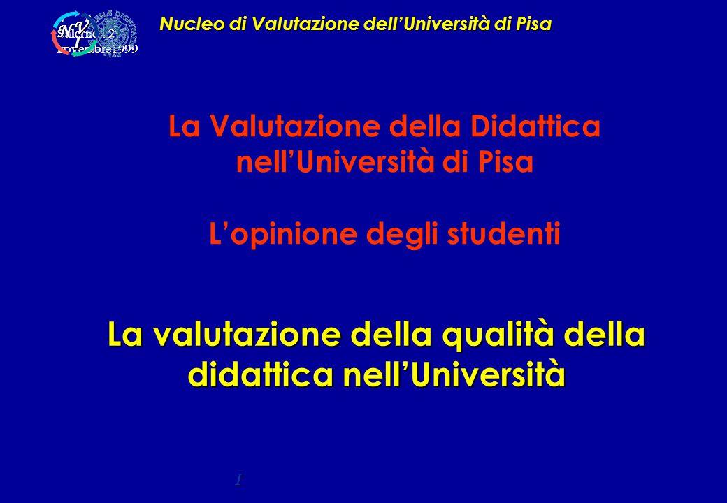 La valutazione della qualità della didattica nell'Università Nucleo di Valutazione dell'Università di Pisa I Salerno 12 novembre1999 A P C D C D V I N V I N La Valutazione della Didattica nell'Università di Pisa L'opinione degli studenti