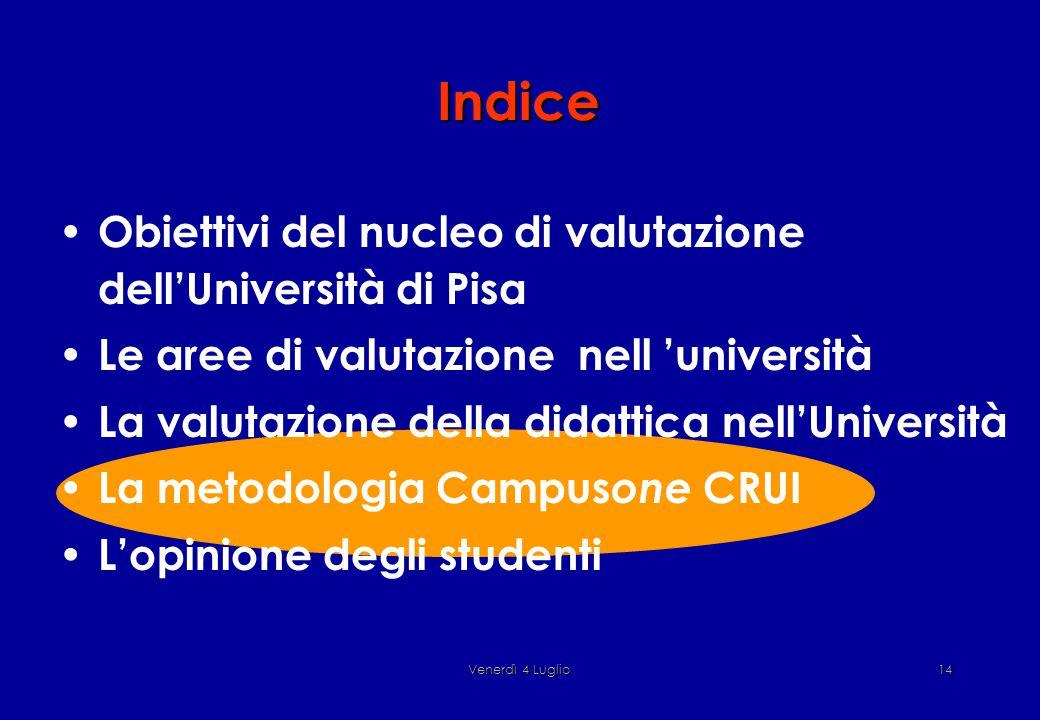 Venerdì 4 Luglio14 Indice Obiettivi del nucleo di valutazione dell'Università di Pisa Le aree di valutazione nell 'università La valutazione della didattica nell'Università La metodologia Campus one CRUI L'opinione degli studenti