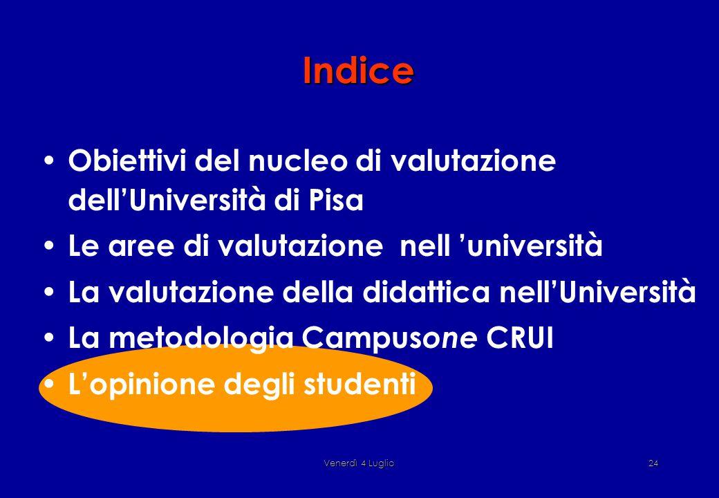 Venerdì 4 Luglio24 Indice Obiettivi del nucleo di valutazione dell'Università di Pisa Le aree di valutazione nell 'università La valutazione della didattica nell'Università La metodologia Campus one CRUI L'opinione degli studenti