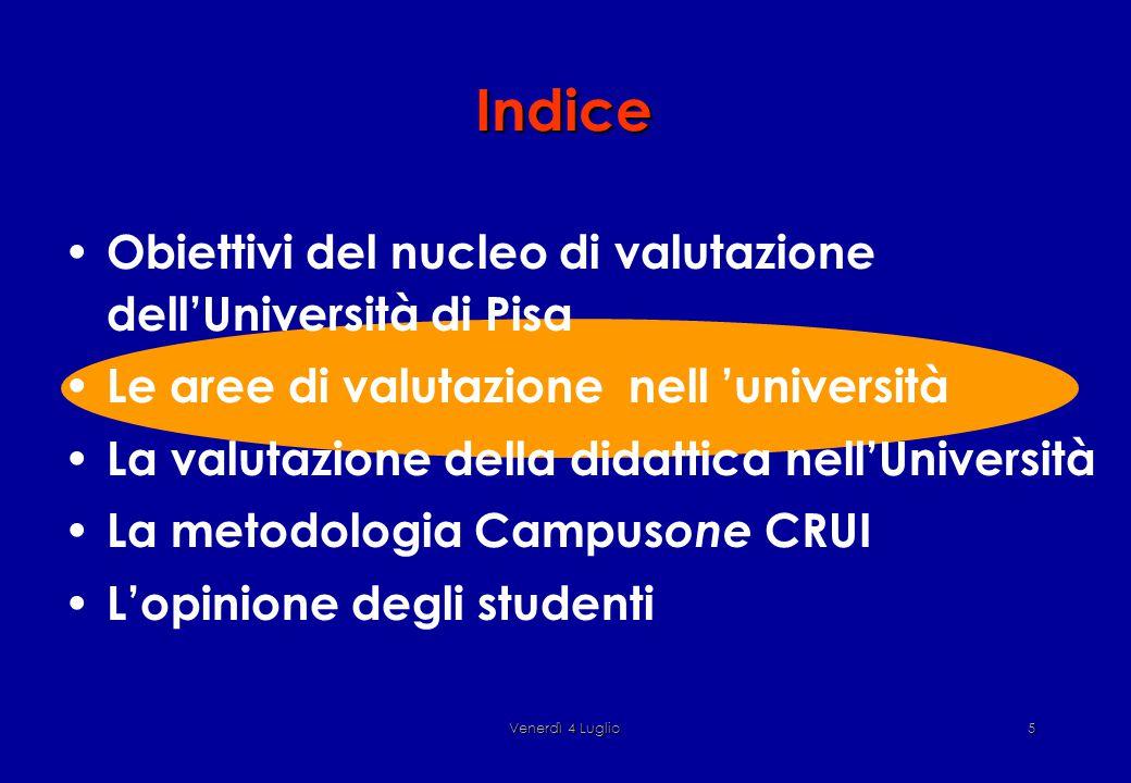 Venerdì 4 Luglio5 Indice Obiettivi del nucleo di valutazione dell'Università di Pisa Le aree di valutazione nell 'università La valutazione della didattica nell'Università La metodologia Campus one CRUI L'opinione degli studenti