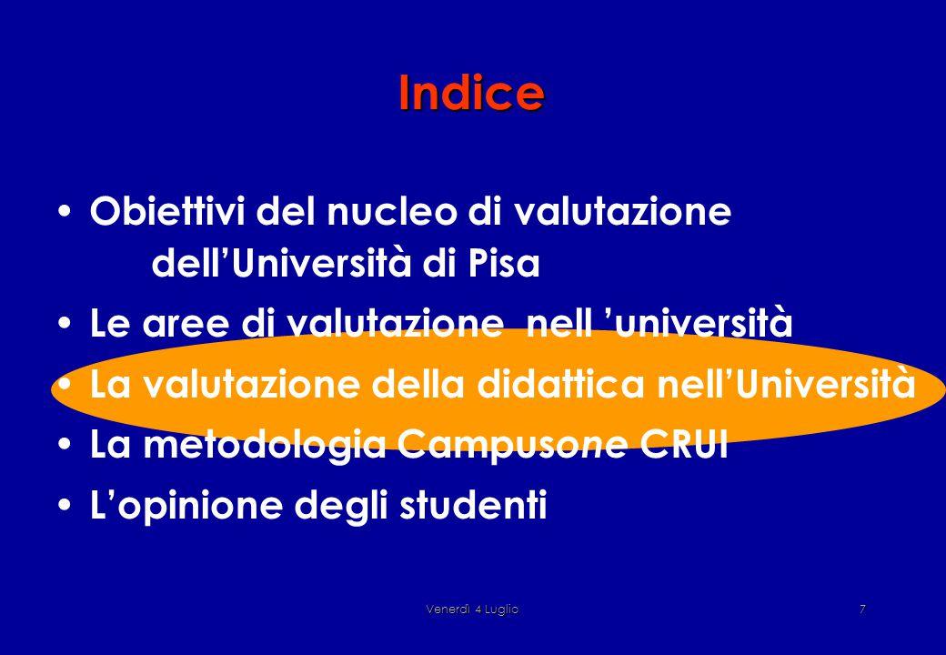 Venerdì 4 Luglio7 Indice Obiettivi del nucleo di valutazione dell'Università di Pisa Le aree di valutazione nell 'università La valutazione della didattica nell'Università La metodologia Campus one CRUI L'opinione degli studenti