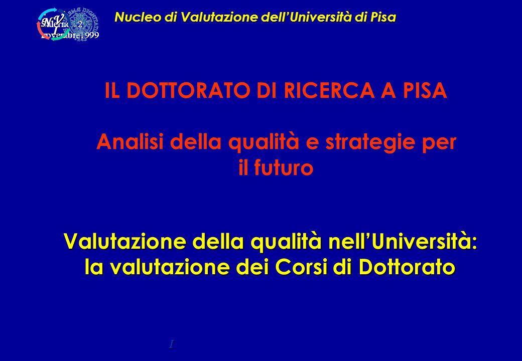 Valutazione della qualità nell'Università: la valutazione dei Corsi di Dottorato Nucleo di Valutazione dell'Università di Pisa I Salerno 12 novembre1999 A P C D C D V I N V I N IL DOTTORATO DI RICERCA A PISA Analisi della qualità e strategie per il futuro
