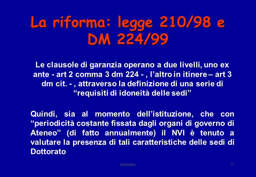 Dottorato11 La riforma: legge 210/98 e DM 224/99 Le clausole di garanzia operano a due livelli, uno ex ante - art 2 comma 3 dm 224 -, l'altro in itinere – art 3 dm cit.