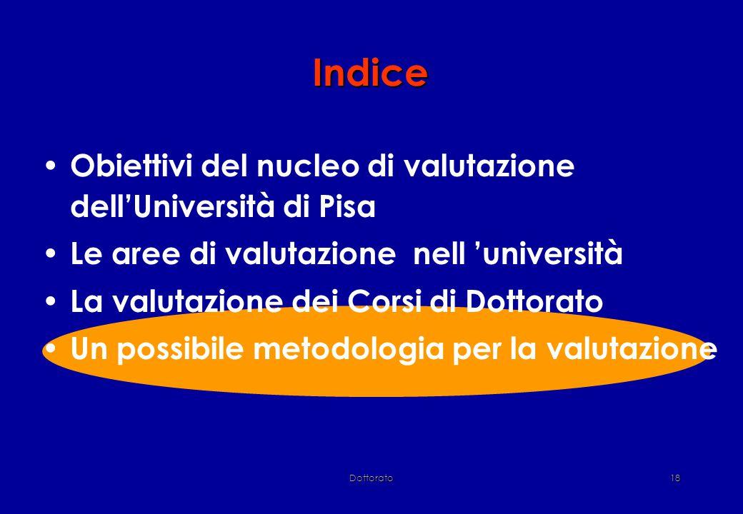 Dottorato18 Indice Obiettivi del nucleo di valutazione dell'Università di Pisa Le aree di valutazione nell 'università La valutazione dei Corsi di Dottorato Un possibile metodologia per la valutazione