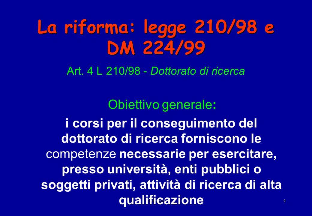 Dottorato9 La riforma: legge 210/98 e DM 224/99 Art.