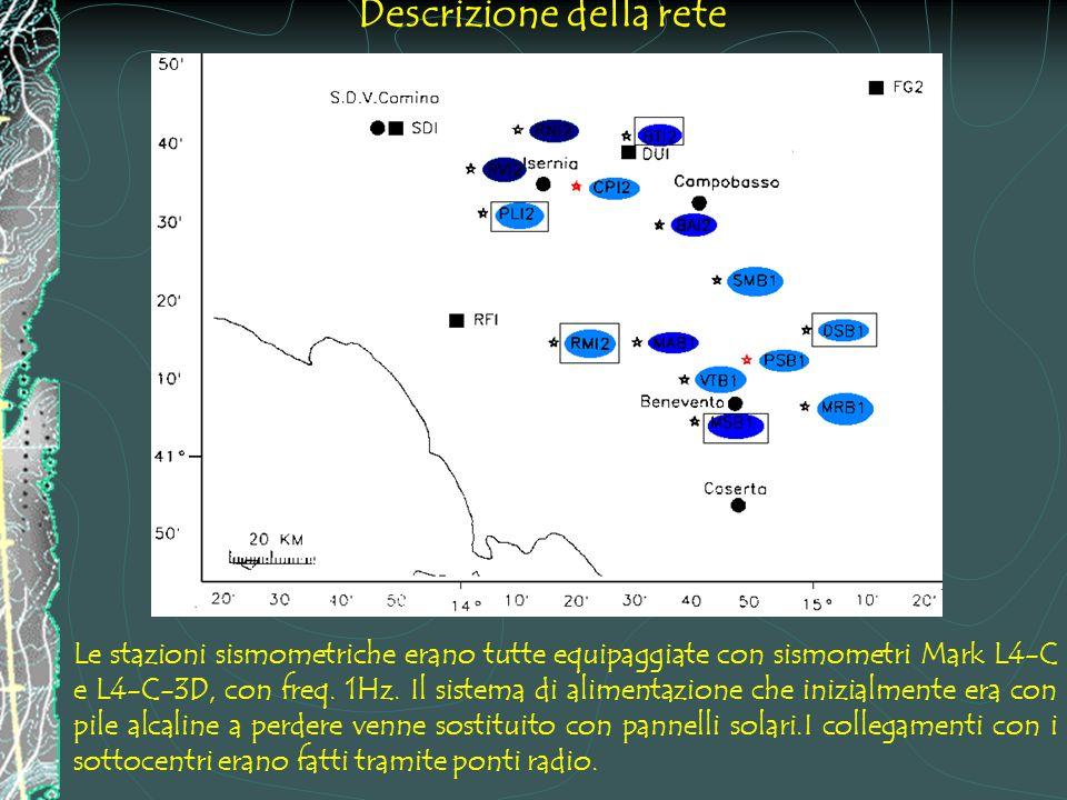 Descrizione della rete Le stazioni sismometriche erano tutte equipaggiate con sismometri Mark L4-C e L4-C-3D, con freq.