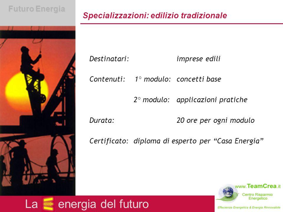 Futuro Energia Corsi di specializzazione Qualifica di esperto per Case Energia Categorie: edilizia tradizionale installazione e tecnologie domestiche costruzioni e case in legno La energia del futuro