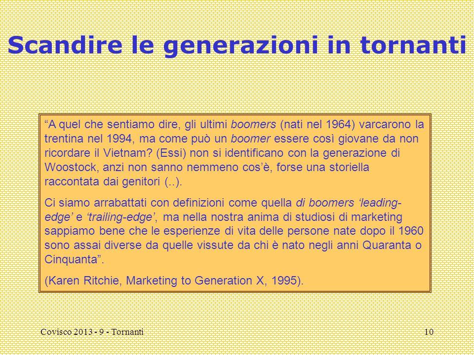 """Covisco 2013 - 9 - Tornanti10 Scandire le generazioni in tornanti """"A quel che sentiamo dire, gli ultimi boomers (nati nel 1964) varcarono la trentina"""