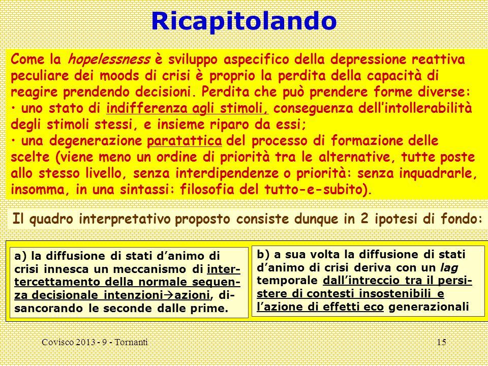 Covisco 2013 - 9 - Tornanti15 Ricapitolando Il quadro interpretativo proposto consiste dunque in 2 ipotesi di fondo: a) la diffusione di stati d'animo di crisi innesca un meccanismo di inter- tercettamento della normale sequen- za decisionale intenzioni  azioni, di- sancorando le seconde dalle prime.