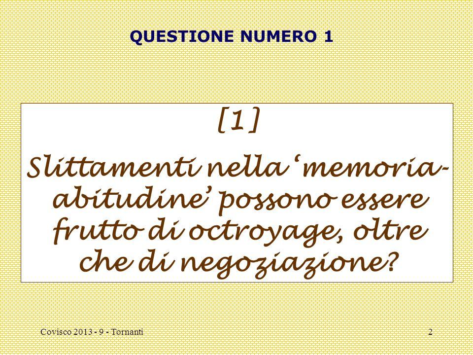 Covisco 2013 - 9 - Tornanti2 QUESTIONE NUMERO 1 [1] Slittamenti nella 'memoria- abitudine' possono essere frutto di octroyage, oltre che di negoziazio