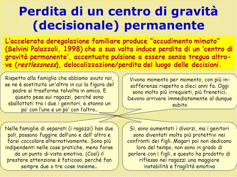 Covisco 2013 - 9 - Tornanti21 Perdita di un centro di gravità (decisionale) permanente Rispetto alla famiglia che abbiamo avuto noi, se ne è sostituit