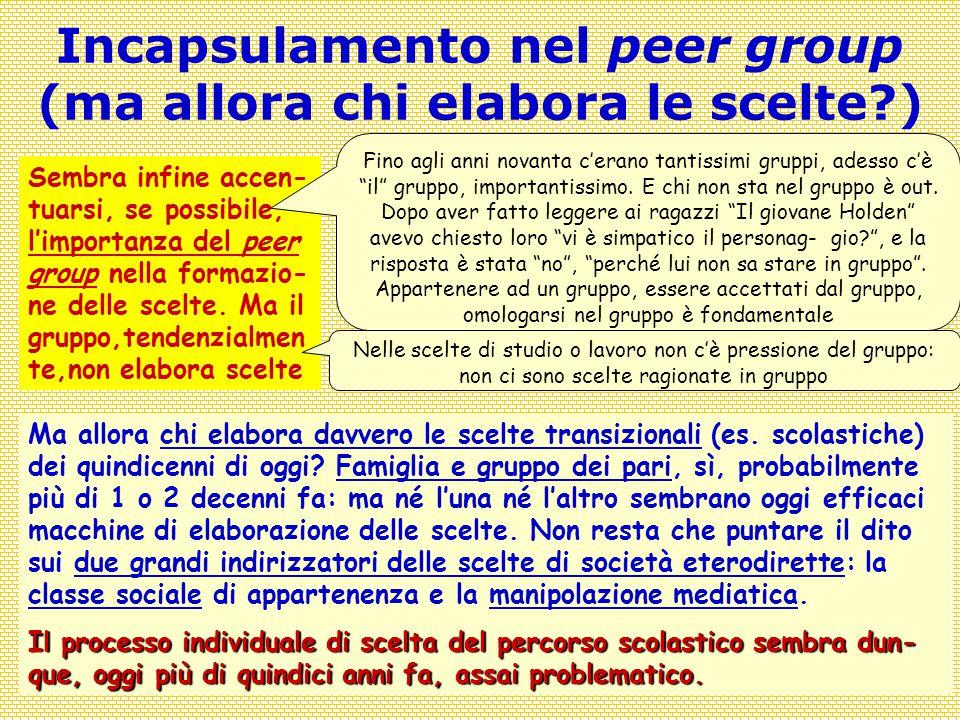 Covisco 2013 - 9 - Tornanti23 Incapsulamento nel peer group (ma allora chi elabora le scelte?) Sembra infine accen- tuarsi, se possibile, l'importanza