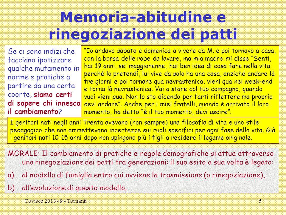Covisco 2013 - 9 - Tornanti5 Memoria-abitudine e rinegoziazione dei patti Se ci sono indizi che facciano ipotizzare qualche mutamento in norme e pratiche a partire da una certa coorte, siamo certi di sapere chi innesca il cambiamento.