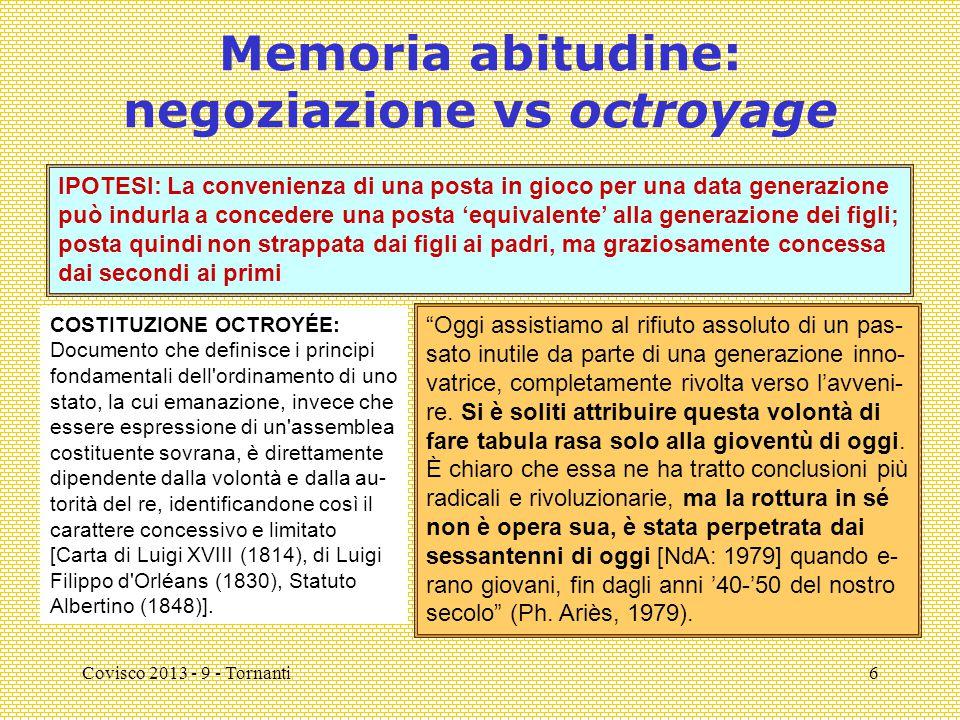 Covisco 2013 - 9 - Tornanti6 Memoria abitudine: negoziazione vs octroyage COSTITUZIONE OCTROYÉE: Documento che definisce i principi fondamentali dell'
