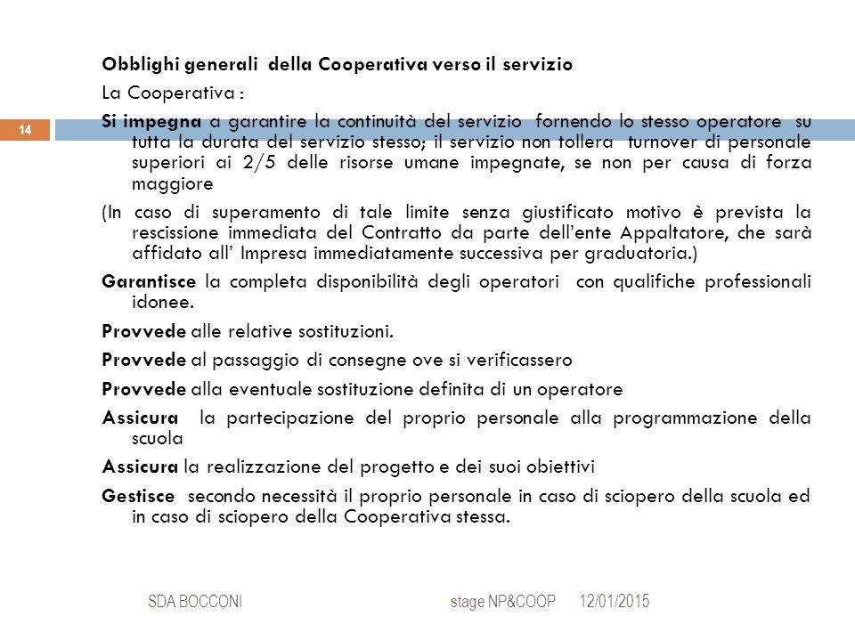 12/01/2015SDA BOCCONI stage NP&COOP 14 Obblighi generali della Cooperativa verso il servizio La Cooperativa : Si impegna a garantire la continuità del