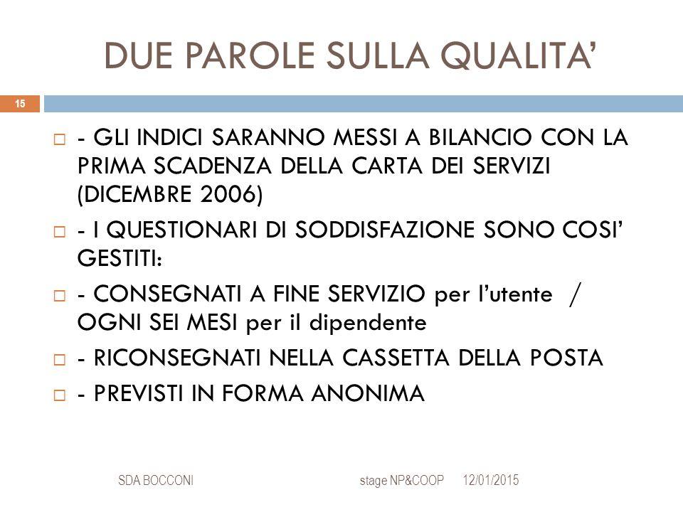 DUE PAROLE SULLA QUALITA' 12/01/2015SDA BOCCONI stage NP&COOP 15  - GLI INDICI SARANNO MESSI A BILANCIO CON LA PRIMA SCADENZA DELLA CARTA DEI SERVIZI (DICEMBRE 2006)  - I QUESTIONARI DI SODDISFAZIONE SONO COSI' GESTITI:  - CONSEGNATI A FINE SERVIZIO per l'utente / OGNI SEI MESI per il dipendente  - RICONSEGNATI NELLA CASSETTA DELLA POSTA  - PREVISTI IN FORMA ANONIMA